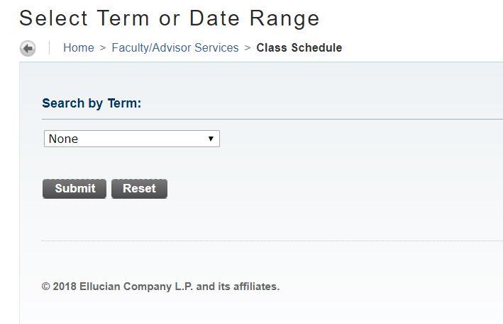 Screenshot of the Term Select menu item.