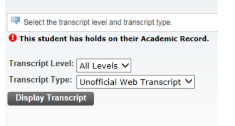 Screenshot of the transcript menu selection in SSB.