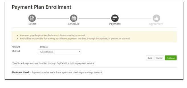 Screenshot of Touchnet's Payment Plan gateway.
