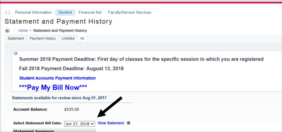 Statement and Payment History page on NEST pointing to the View Statement item.