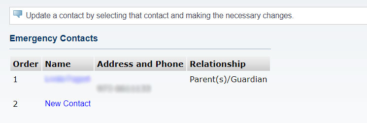 Screenshot of the NEST page listing your Emergency Contacts.