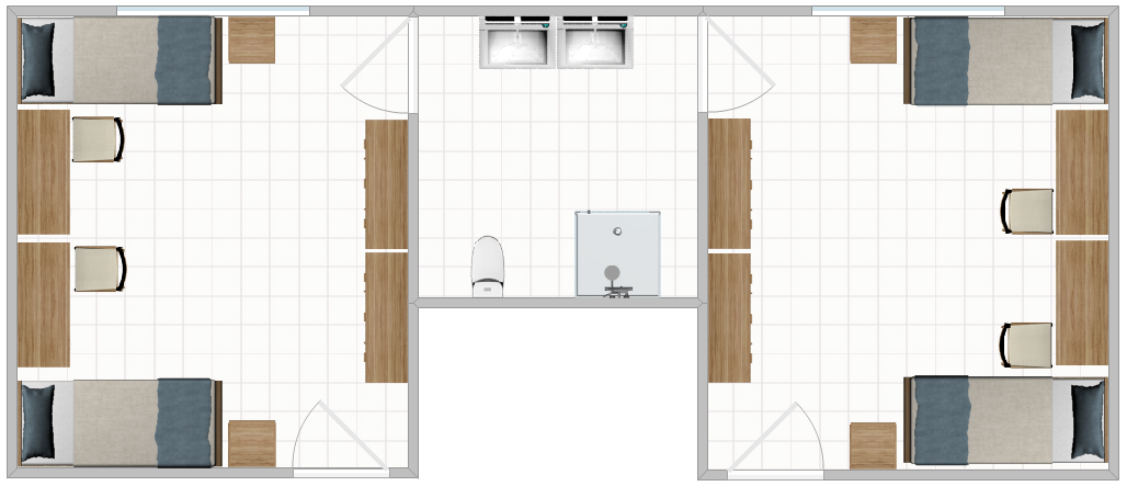 Freeman Hall Double Layout with two adjoining rooms sharing a bathroom.