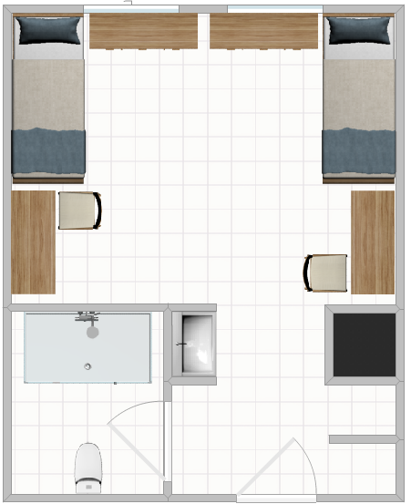 A Double Room Layout in the Heights featuring two beds and a bathroom.