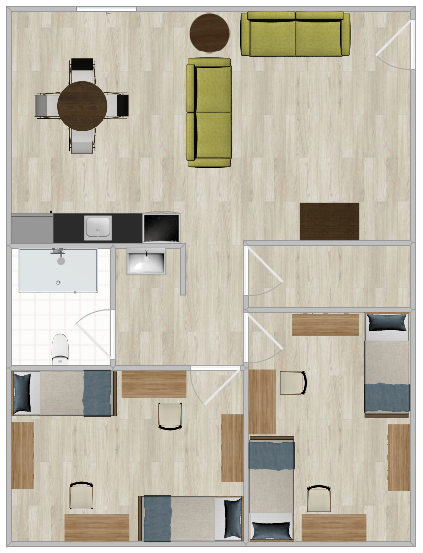 A Hawk Crossings Apartment with two bedrooms, one bathroom and a shared living space.