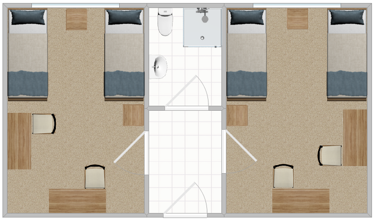 The layout of two double rooms in Russ Hall featuring a shared bathroom in between.