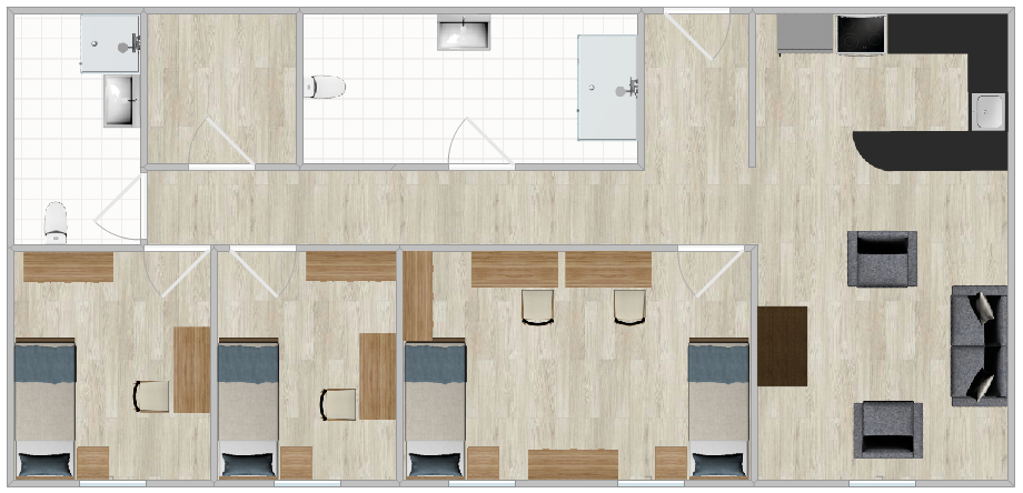 The Village Apartments double layout with three bedrooms, two bathrooms and a shared kitchen and living room.