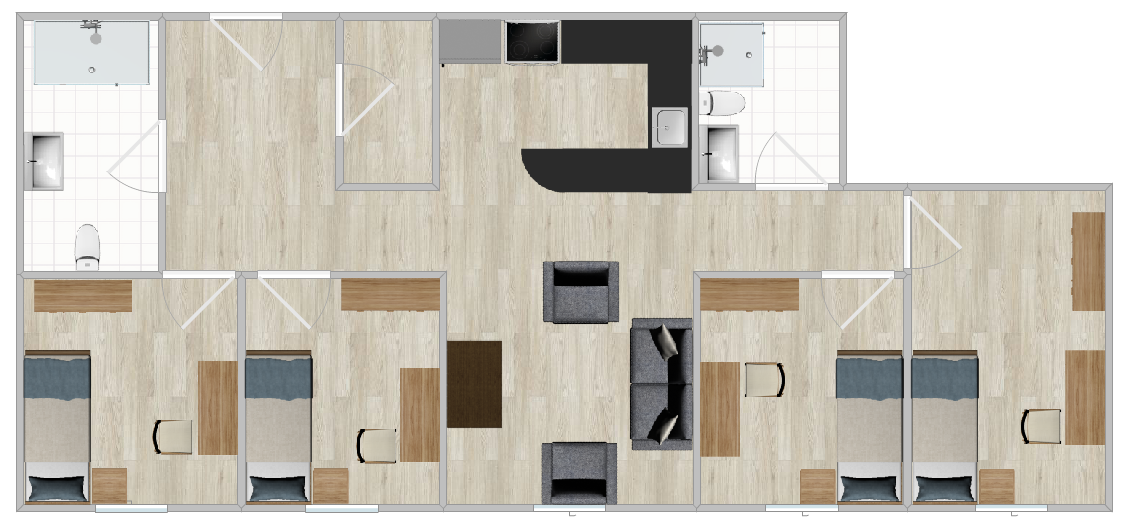 The Village Apartments Single layout with four bedrooms, two bathrooms and a shared kitchen and living room.