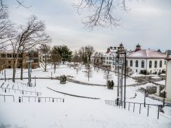 Photo of campus covered in snow