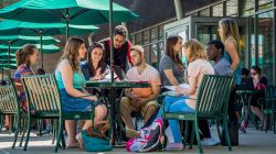 Photo of students meeting on the terrace of Cafe Diem