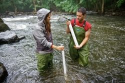 Photo of taking samples of sediment from the river bed.