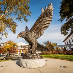 The Red Hawk statue welcomes students and visitors to campus.