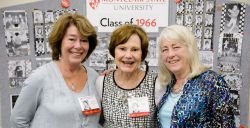 Three elderly females at Class of 1966 reunion.