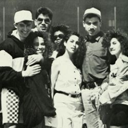 Black-and-white photo of the class of 1990
