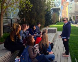 Julian Brash talking with Anthropology students at New York City's High Line park.