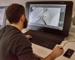 Student working on 3D modeling project