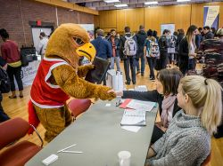 Rocky the Red Hawk making that important 'good first impression.'