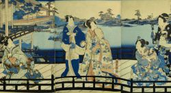 Utagawa Hiroshige (also known as Ichiryusai Hiroshige, 1797-1858) and Gototei Kunisada (also known as Toyokuni III, 1786-1865), Prince Genji with Lady and Servants by A Bridge Overlooking A River, ca. 1852-1853, triptych from the Tale of Genji (Genji Monogatari), 16 1/16 x 32 3/16 in., polychrome woodblock print, Tsuta-Ya Kichizo, publisher, Montclair State University Permanent Collection from the Estate of Ellen W. Studdiford.