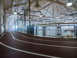 The indoor track of the Student Recreation Center.