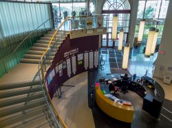Aerial shot of Student Recreation Center lobby