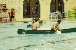 Students participating in Battleships in the Campus Recreation Center Pool!
