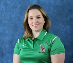 Headshot of Kimberley Woodin wearing a green, Campus Recreation polo shirt.