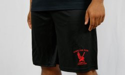 black shorts without pockets that say montclair state campus recreation with the red hawk logo in red