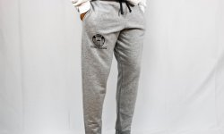 Gray Joggers with the campus recreation logo that say Montclair State university campus recreation