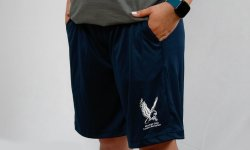 Navy shorts with pockets that say montclair state campus recreation with the red hawk logo in white
