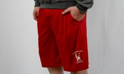 Red shorts with pockets that says Montclair State Campus Recreation with the red hawk logo in white
