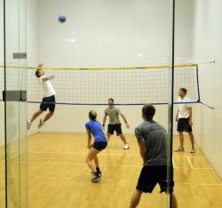 Five students playing wallyball