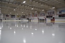 A photo of one of the ice rinks inside the Montclair State University Ice Arena.