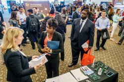 Students attending a career fair in the Conference Center.