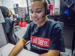 A student working in the Call Center for Annual Giving.