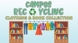 "Donation box clip art and ""campus recycling"" title"