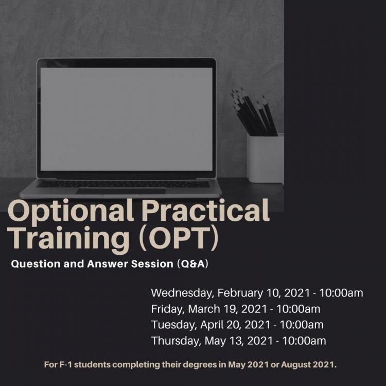 Optional Practical Training (OPT) Workshop   University Calendar