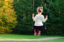 Photo of child on a swing.