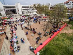 Aerial of the Quad with lots of people there