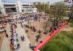 Aerial photo of Student Center quad full of students
