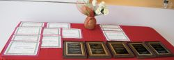 awards and plaques on table