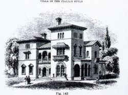 Pen and Ink rendering of an Italian style home in montclair