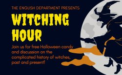 event title witching hour with shadow of witch on a broom flying by the moon