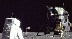 Cropped Image of Man landing on the Moon