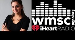 photo of student Hiral Patel and logo of WMSC radio station and iHeartRadio