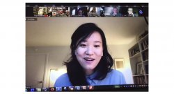 photo of poet Jenny Xie on zoom call with smaller images of attendees at top