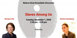 "photo of event flyer featuring event title, ""Slaves Among Us"" and images of the two event speakers"