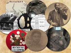collage photo of artifacts and old images from the Setauket, Long Island community