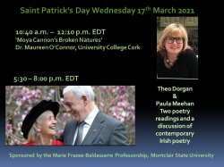 event flyer for St. Patrick's Day Irish poetry readings