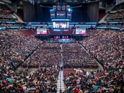 Prudential Center full of students during Spring Commencement 2017.