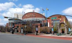 Photo of NJPAC building exterior.