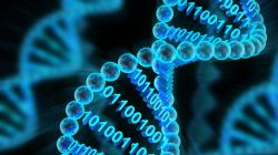 DNA strand with binary code
